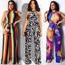 Women Sleeveless Zebra-stripe Print Long Casual Club Party Jumpsuit with Belt