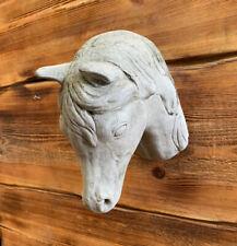 STONE GARDEN HORSE HEAD WALL PLAQUE HANGING STATUE ORNAMENT
