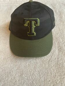 New Era 59Fifty fitted 7 3/8 TEXAS RANGERS Memorial Day Black Camouflage NWOT