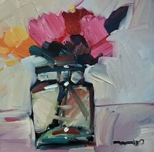 JOSE TRUJILLO Oil Painting STILL LIFE SMALL FLOWER JAR DAILY PAINTER MODERN ART