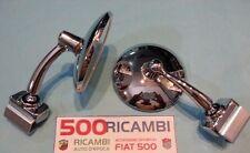 FIAT 500 F/L/R 126 COPPIA SPECCHIO ROTONDO CROMATO RETROVISORE ATTACCO MORSETTO