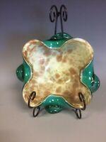 Vintage Murano Art Glass Ashtray Green/Aqua w/ Bronze Aventurine