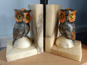 Vintage Alabaster OWL Book Ends Hand Carved Made In Italy Bookends Glass Eyes