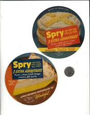 Lot of 2 SPRY Vegetable Shortening Product Paper Pull Tab Labels / Recipes '50's