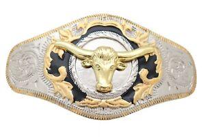 Men Western Fashion Big Belt Buckle Silver Metal Gold Long Horn Bull Rodeo Heavy