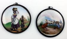 2 Gilt - Metal Mounted Porcelain Medallions Farmer Girl Late Nineteenth Century