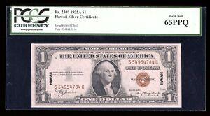 DBR 1935-A $1 Silver Hawaii Gem SC Block Fr. 2300 PCGS 65 PPQ Serial S54954784C