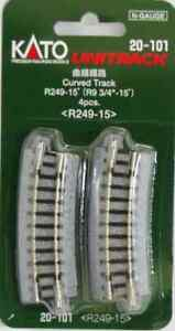 """kato 20-101  r 249mm 55*   9 3/4"""" r 15*  curved track  ( 4pack)"""