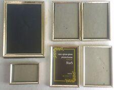 Lot of Gold-tone Matching Metal PictureFrames-Non-GlareGlass,1 Bi-FoldAsst.Sizes