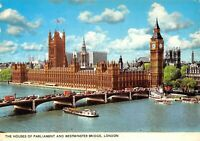 Vintage London Postcard, The Houses of Parliament and Westminster Bridge AV0