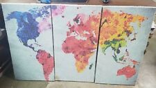 Map of the World Canvas Painting set of 3 Panels 30x48