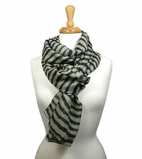 Womens Stripe Scarf Cable Cowl Neck Long Shawl Winter Warmer Sheer