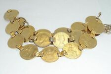 Flashy Gold Tone Half Dollar Size Linked Coin Belt