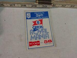1978 Kansas City Royals Baseball Pocket Schedule WIBW 58