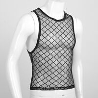 Muscle Comfy Mesh Fishnet sheer Mens Vest Sleeveless T-Shirt Tank Top Singlet