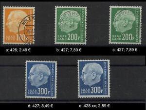 Saar Heuss  100 - 300 Fr gestempelt / postfrisch bitte auswählen #d804