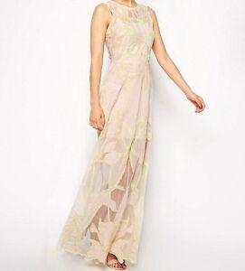 BRANDED Premium Nouveau Maxi Evening Dress in Nude/Neon UK 6/EU 34/US 2