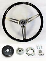 1964-1966 Buick Skylark GS Black Wood Steering Wheel High Gloss Grip 15""