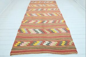 "Turkish Fethiye Kilim Rug Striped Rug, Carpet, Area Rugs, Woolrug Kelim 57""X120"""