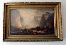 "RARE Large 1869 Prang Chromolithograph on Canvas ""Yosemite Valley"" Thomas Hill"