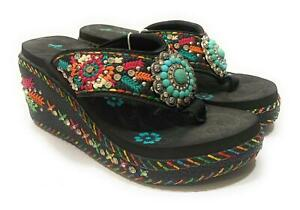 "Montana West 3"" Flip Flops High Wedge Turquoise Concho Rhinestone Aztec Womens 8"