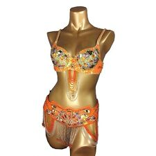 Belly Dance【Bra+Belt】 Beaded Set/Outfit Optional Skirt Sexy Samba Costume AC09