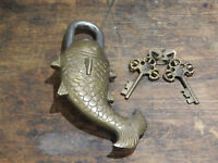 Large Fish Padlock decroative fully working Brass