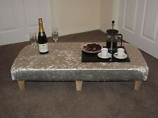 xxl foot stool silver crushed velvet ideal snack table footstool light wood leg