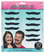 10 Stick On Fake Black Moustache 50s 60s 70s Vicar Cowboy Spiv Mens Fancy Dress