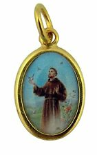 Gold Toned Base with Epoxy Image Catholic Saint Francis Medal Pendant, 1 Inch