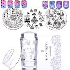 5Pcs/Set Born Pretty Christmas Snowflake Nail Stamping Plates Stamper & Scraper