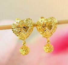 22K THAI BAHT DP GOLD ~ FILIGREED BEAD DANGLE HEART HOOP OMEGA BACK EARRINGS