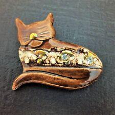 Vintage Painted Brown Ceramic Rhinestone Kitty Cat Brooch