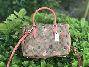 NWT Coach Mini Surrey Carryall Signature Bag Tossed Peony Floral F44961 Pink