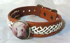 Horse Snap & Leather Twine Stitched Bracelet 18-20Mm Wild Horse Head Bubbles!