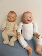 2 Antique Reproduction Bisque Head Dolls Marseille Dream Baby & Putnam Bye Lo