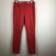 Madewell Womens Solid Red Coral Skinny Skinny Jeans 28x32