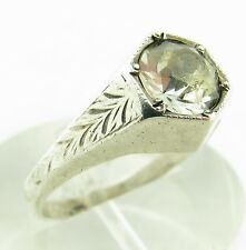Vintage Art Deco Sterling Silver Paste Solitaire Stone Etched Band Ring Size 9
