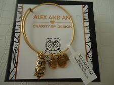 Alex and Ani OWL II Charity By Design Bangle Russian Gold New W/ Tag Card & Box