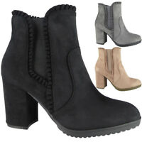 New Womens Ladies Faux Suede Zip Mid Heel Work Chelsea Ankle Boots Shoes Size