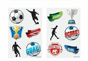 12 x NEW FOOTBALL Temporary Tattoos Boys Childrens Kids Party Loot Bag Fillers
