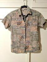 Tori Richard ® Floral Geometric 100% Cotton Lawn S Small Shirt EUC