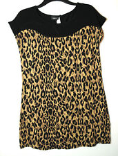 BROWN BLACK LEOPARD PRINT LADIES CASUAL TUNIC TOP BLOUSE STRETCH NEXT SIZE 12