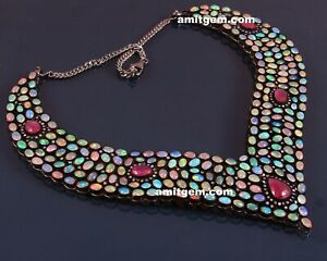 925 Fine Silver Real Diamond Ethiopian Fire Opal Natural Ruby Necklace Set Ns-17