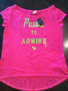 Abercrombie kids girls pink green sparkle t-shirt  size xlarge new with tags