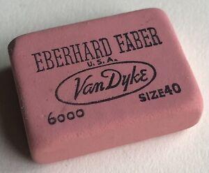 Vintage Eberhard Faber VAN DYKE Size 40 Rubber Pencil Eraser USA