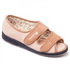 Padders LYDIA Ladies Microsuede Extra Wide EE Touch Fasten Slippers Camel/Beige
