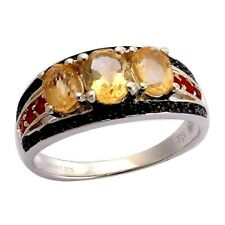 Natural Citrine Fire opal Black Spinel past present future Sterling Silver Ring