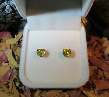 Exquisite natural diamond lustre Yellow Sphene 6mm yellow gold stud earrings ✨