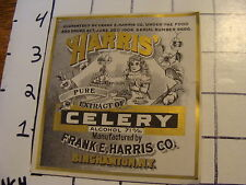 Orig. Vintage Label: HARRIS' pure extract of CELERY frank e. harris Binghamton